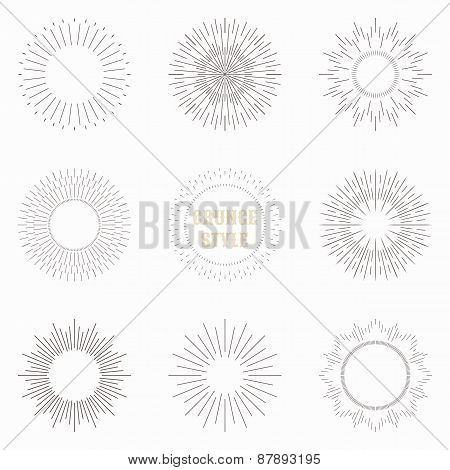 Set of vintage sunburst. Geometric shapes and light ray collection