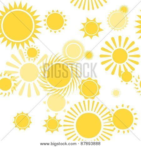 Seamless Pattern with Shiny Bright Yellow Sun