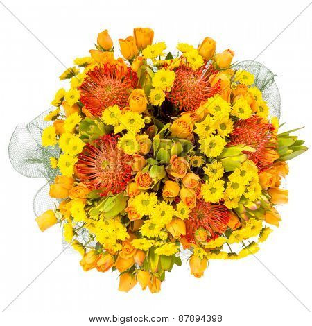 beautiful colorful fresh flowers bouquet isolated on white background