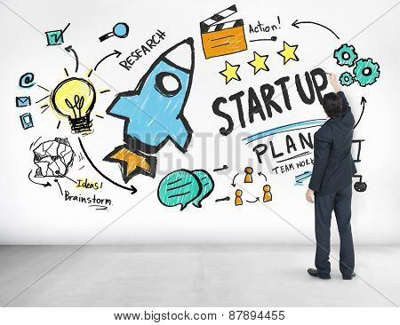 Start Up Business Launch Success Businessman Ideas Concept