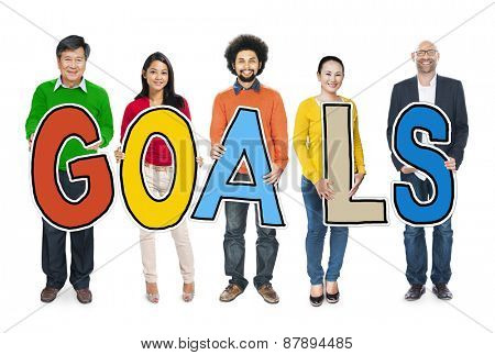 Group of Multiethnic People Holding Goals