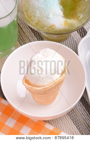 Mixed Ice Cream Scoops In Bowl