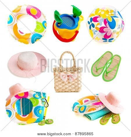 photo collage beach accessories isolated on a white background