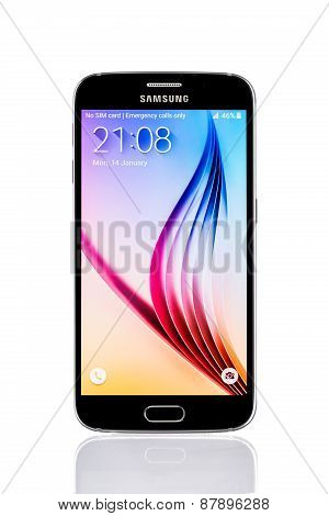 Varna, Bulgaria - February 14, 2015: Studio Shot Of A Black Samsung Galaxy Note Edge Smartphone, Wit