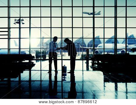 International Airport Business Travel Airport Handshake Concept