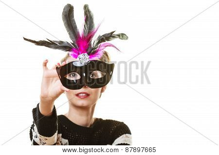 Woman Trying Carnival Mask