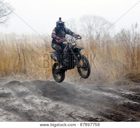 Off-road Rider Is Jumping