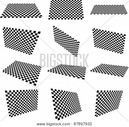Set Of Checkered Planes In Different Angle, Perspective