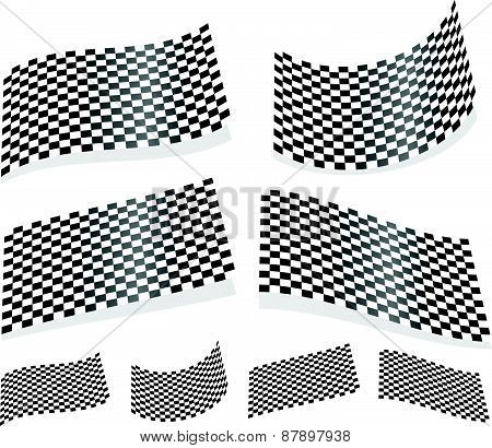 Waving Checkered Flags, Surfaces. 3D Planes With Checkered Surface