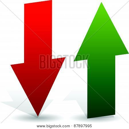 3D Arrows Point Up And Down In Green And Red. Editable Vector. Growth, Deficit, Business Concepts