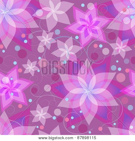 Seamless Pattern With Flowers Lilies, Circles And Swirls