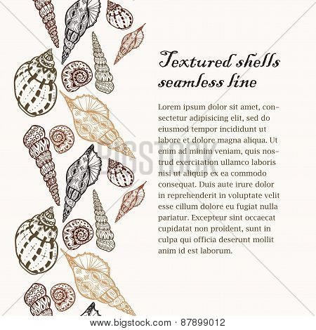 Doodle Textured Shells Seamless Line Background.