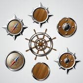 picture of nautical equipment  - Set of Steel and Wooden Nautical design elements - JPG