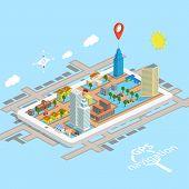 foto of gps navigation  - GPS Mobile Navigation Isometric Map - JPG