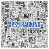 foto of gps  - Close up GPS TRACKING Text at the Center of Word Tag Cloud on White Background - JPG