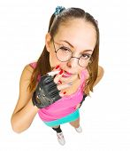 picture of nerd glasses  - Funny schoolgirl with nerd glasses and cigarette  isolated - JPG