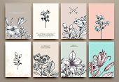 stock photo of classic art  - Vintage Floral Cards Set - JPG