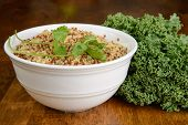 picture of kale  - A bowl of quinoa with fresh kale - JPG