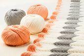 image of knitting  - rolls of soft knitting yarn and knitting on white background  - JPG