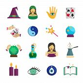 picture of fortune-teller  - Fortune teller magician and paranormal symbols icon flat set isolated vector illustration - JPG