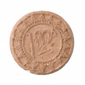 foto of copper coins  - Antique ancient ceramic replica of a coin from Turkey isolated on white background - JPG