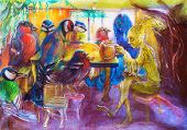 foto of fairies  - Fantasy teatime with birds and fairy friends detailed structured multicolor painting - JPG