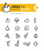 stock photo of carrot  - Vegetables Line Icons including - JPG