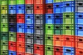 foto of picking tray  - Stack of multicolor crates - JPG