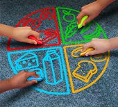 picture of food groups  - Food groups nutrition and healthy lifestyle concept as a group of diverse children holding chalk drawing a pie chart diagram on asphalt with protein dairy fruits and vegetables and starch symbols - JPG