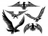stock photo of hunters  - Heraldic eagle icons set - JPG