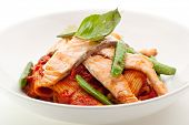 foto of pasta  - Pasta Penne with Fried Salmon - JPG