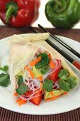 foto of glass noodles  - Rice paper stuffed with glass noodles carrots peppers and cilantro - JPG
