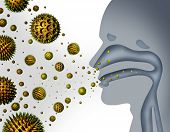 stock photo of hay fever  - Hay fever and pollen allergies and medical allergy concept as a group of microscopic organic pollination particles flying in the air with a human breathing diagram as a health care symbol of seasonal illness - JPG