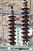 picture of transformer  - detail of a high voltage transformer station - JPG