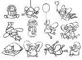 pic of little angel  - Set cute little angels cartoons black silhouettes - JPG