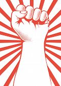 stock photo of clenched fist  - Vector illustration of a clenched fist held high in protest - JPG
