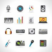 foto of mixer  - Dj icons set with microphone vinyl disk mixer loudspeaker isolated vector illustration - JPG