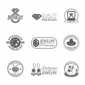 pic of gem  - Precious jewels premium quality jewelry and gems label set isolated vector illustration - JPG