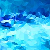 image of jade blue  - Abstract bright deep sea blue colored polygonal triangular background for use in design for card invitation poster banner placard or billboard cover - JPG