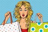 stock photo of boutique  - Pop Art blond women with shopping bags in the hands - JPG