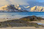 pic of lofoten  - Sunrise at Houkland Beach in Lofoten Islands - JPG