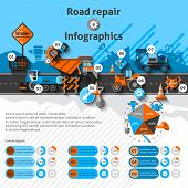 stock photo of road construction  - Road repair infographics set with construction machines and charts vector illustration - JPG