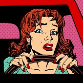stock photo of driver  - Inexperienced woman driver of the car accident pop art comics retro style Halftone - JPG