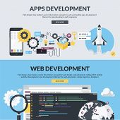 Постер, плакат: Set of flat design style concepts for websites and apps development