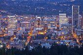 picture of portland oregon  - Downtown Portland Oregon city lights blue hour - JPG