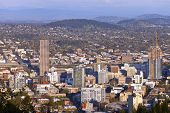 stock photo of portland oregon  - Portland Oregon downtown skyline from Pittock Mansion - JPG