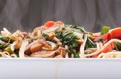 picture of chow  - healthy home made chicken chow mein or chow mien with crispy noodles