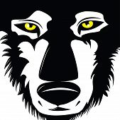stock photo of white wolf  - A black and white vector image of a wolf - JPG