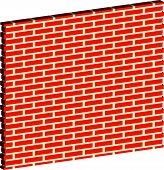 image of spatial  - 3D Spatial Brick wall brickwork with regular pattern isolated on white - JPG