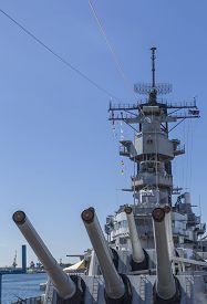 stock photo of battleship  - View from the forward main deck of the historic battleship USS Missouri anchored at Pearl Harbor - JPG